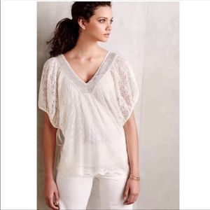 Anthropologie Knitted & Knotted Lace Cillie Top